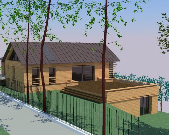 Maison ossature bois sur terrain en pente