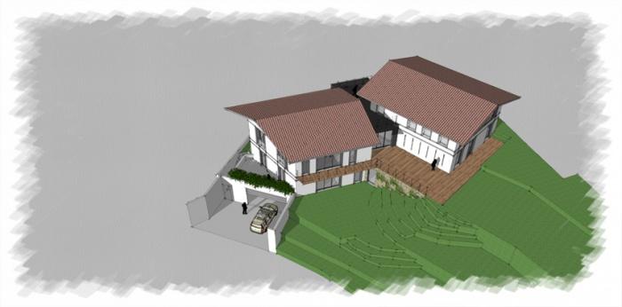Rénovation + extension d'une villa sur la côte Basque : VUE AERIENNE 1