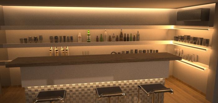 Réalisation de mobilier pour une villa : Bar scéne4
