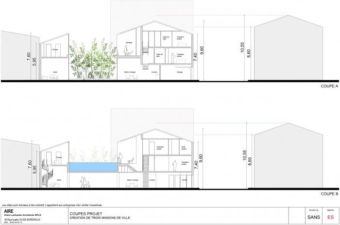Maison de ville +patio : Coupe