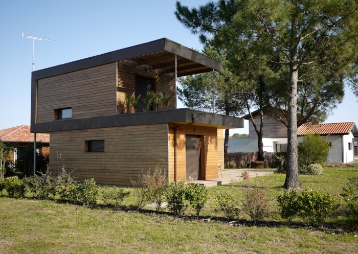 Maison individuelle ossature bois : Maison éco Seignosse Merlateau architecte 2