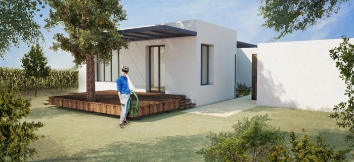 Villa contemporaine avec pergolas, terrasses et jardin. : _Vue sud-est retouchée_WEB