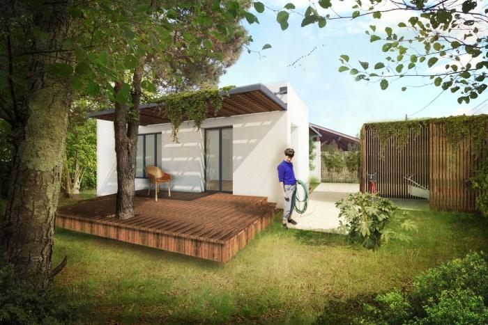 Villa contemporaine avec pergolas, terrasses et jardin. : LE TEICH - PC_WEB
